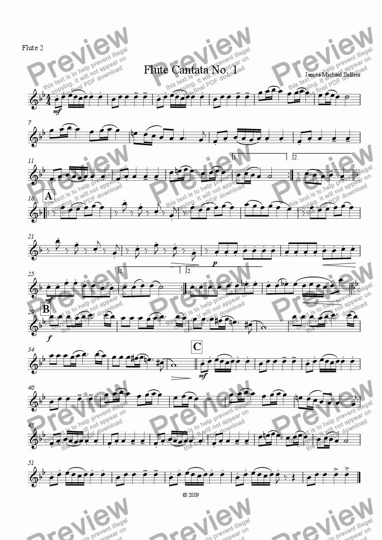 page one of the Flute 2 part from Cantata No 1 (Flute Quartet)