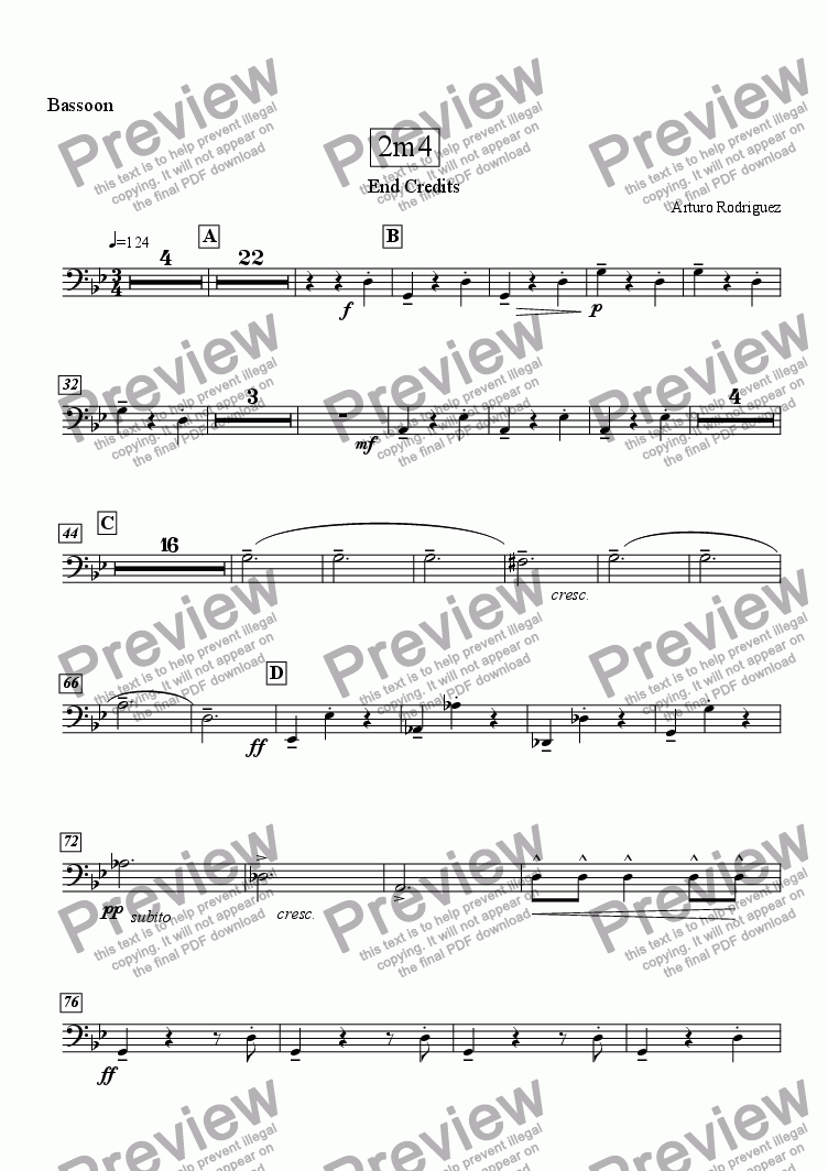 page one of the Bassoon part from Crocodile Waltz