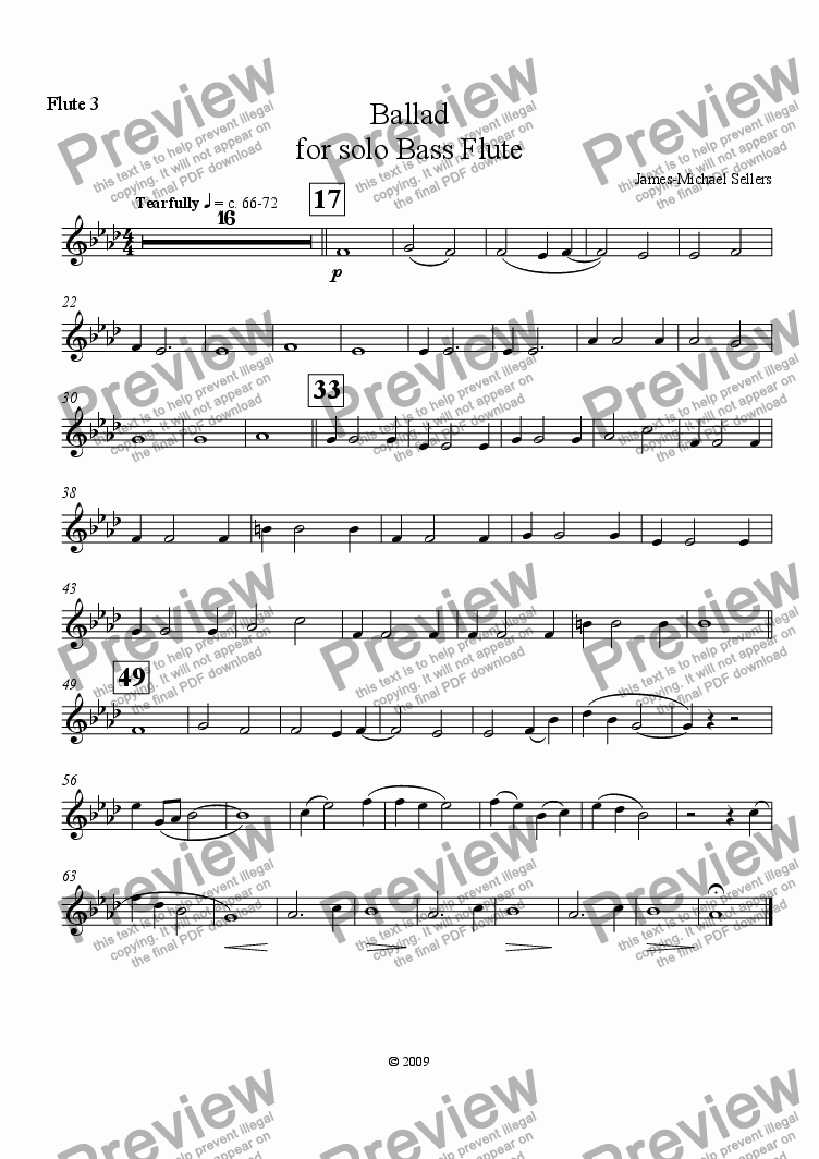 page one of the Flute 3 part from Ballad (for solo Bass Flute and Flute Choir)