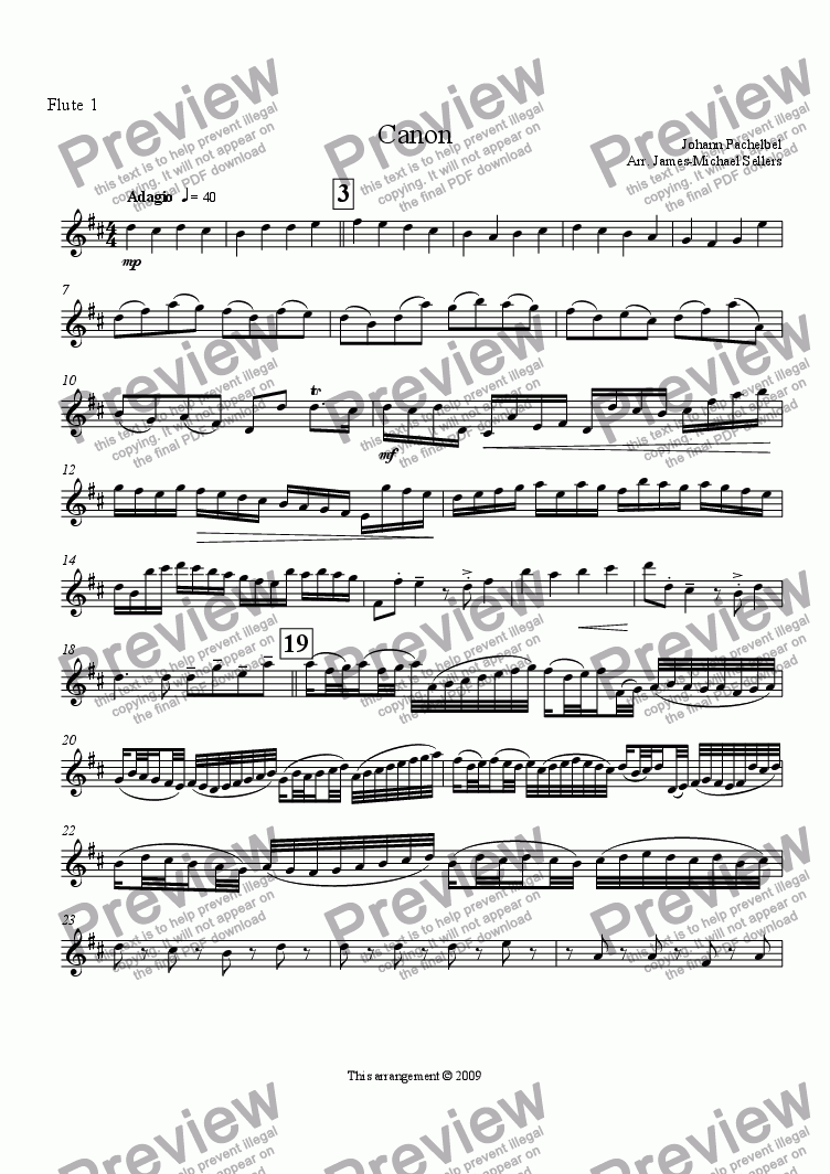 page one of the Flute 1 part from Canon in D (Flute Choir)