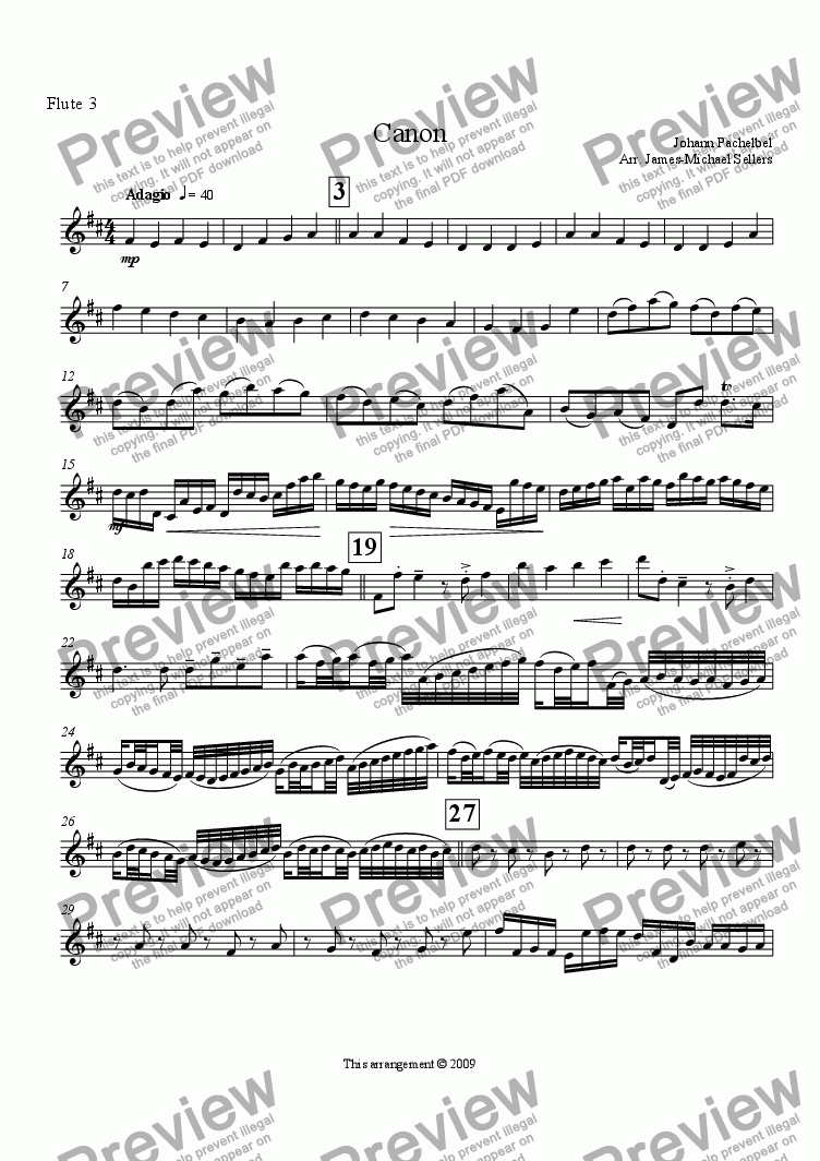 page one of the Flute 3 part from Canon in D (Flute Choir)