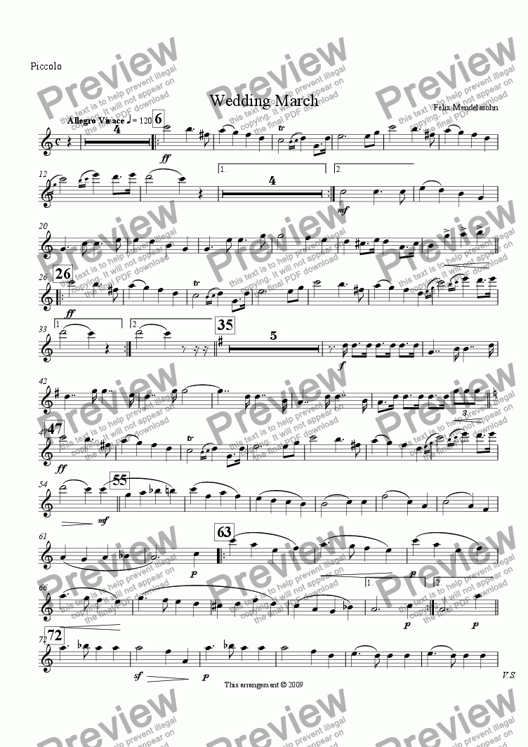 page one of the Piccolo part from Wedding March (from A Midsummer Night's Dream) (Flute Choir)