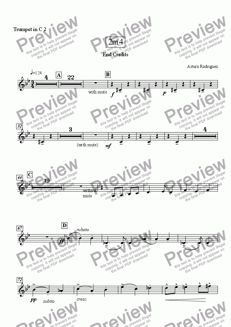page one of the C Trumpet 2 part from Crocodile Waltz