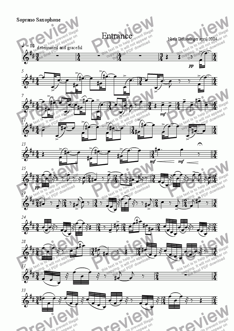 page one of the soprano saxophone part from Entrance