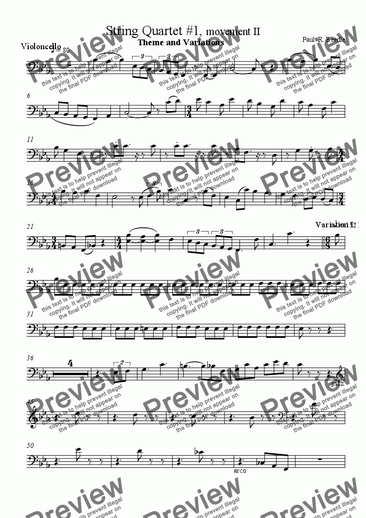 page one of the Violoncello part from String Quartet #1, movement 2