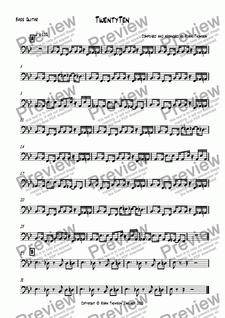 page one of the Bass Guitar part from Twenty Ten