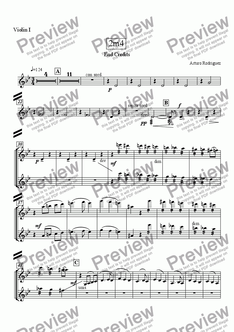 page one of the Violin I part from Crocodile Waltz