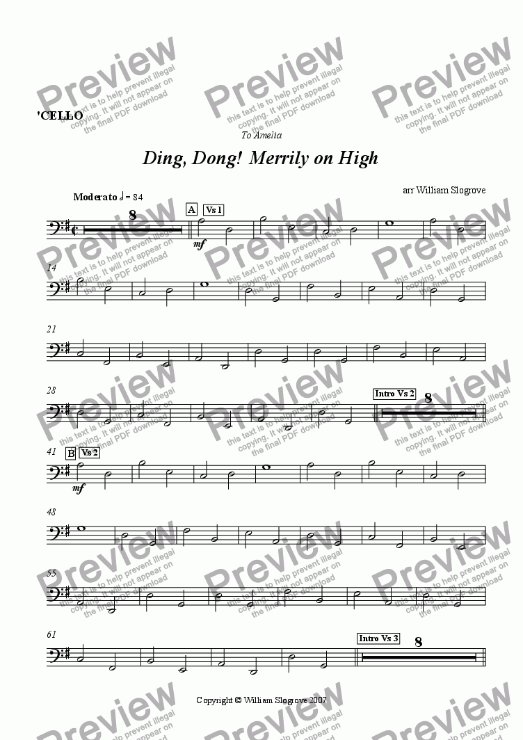 page one of the Cello part from Ding Dong Merrily on High