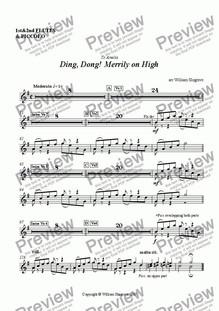 page one of the Flutes & piccolo part from Ding Dong Merrily on High