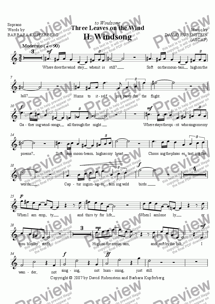 page one of the Soprano part from Windsong (for soprano, flute, clarinet, piano)
