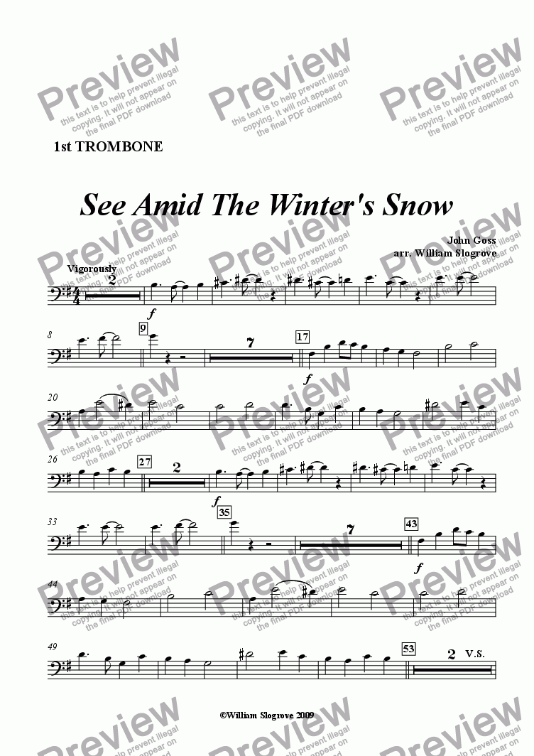 page one of the Trombone 1 part from See Amid the Winter's Snow