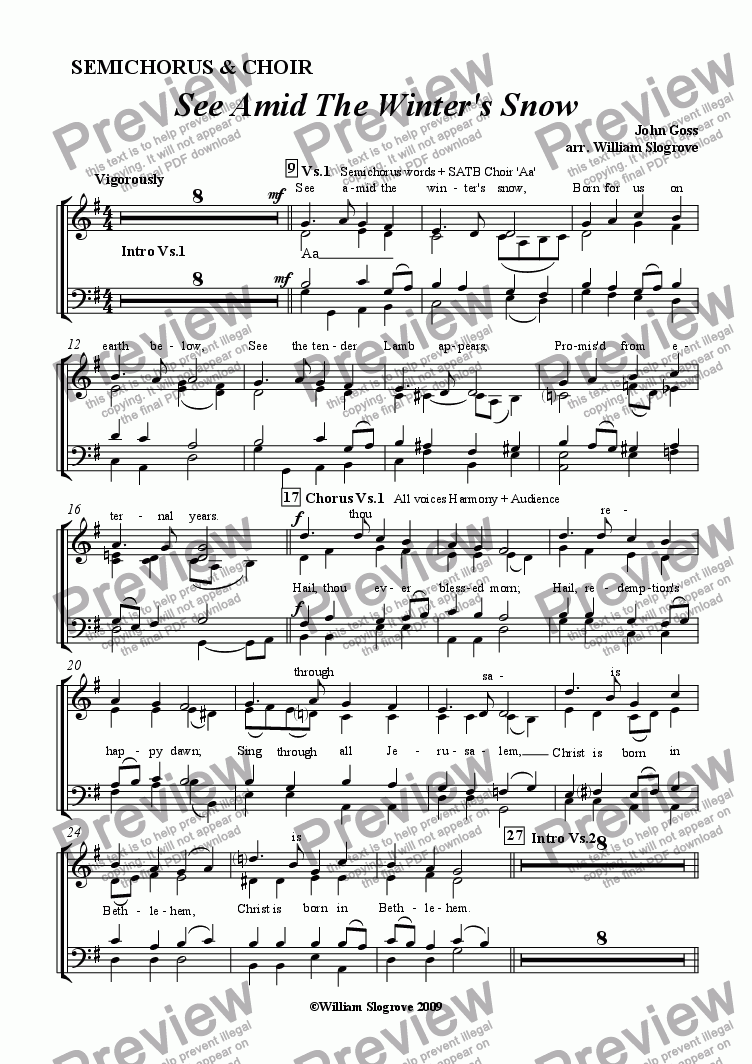 page one of the Voices part from See Amid the Winter's Snow