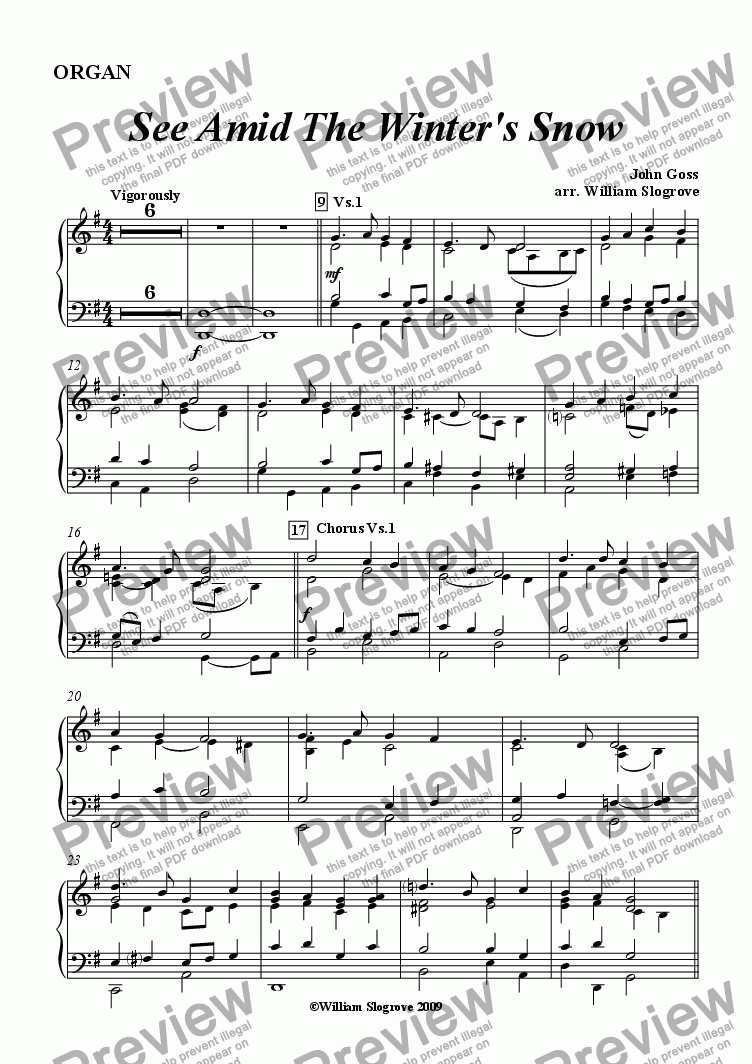 page one of the Organ part from See Amid the Winter's Snow