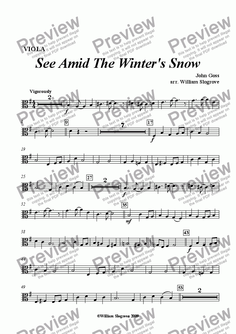 page one of the Viola part from See Amid the Winter's Snow