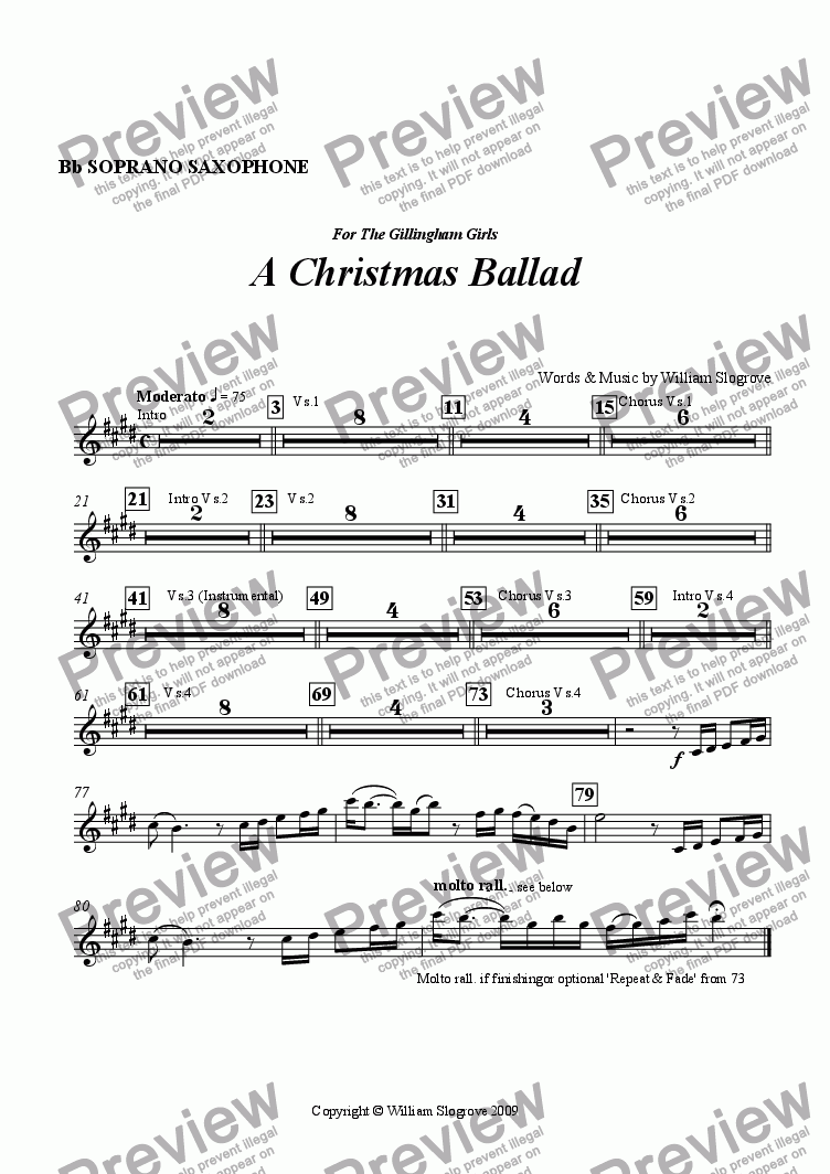 page one of the Soprano Sax part from A Christmas Ballad