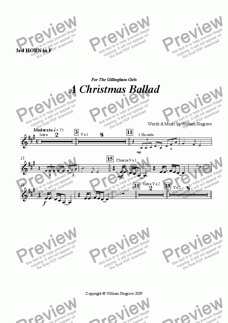 page one of the Horn 3 part from A Christmas Ballad