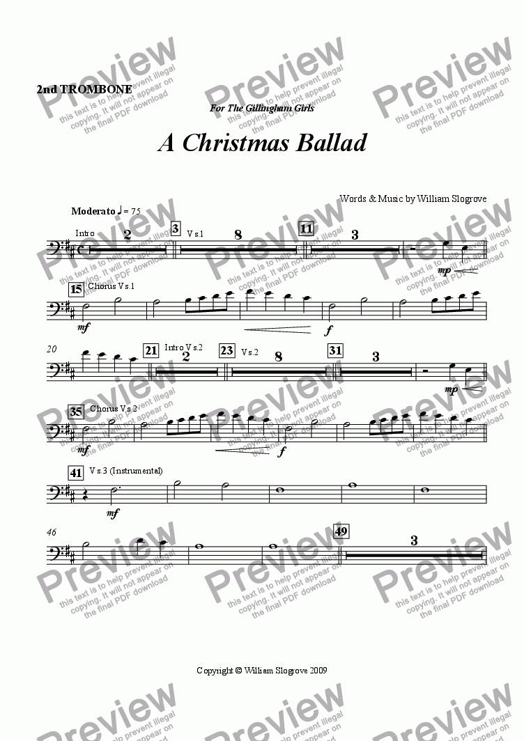 page one of the Trombone 2 part from A Christmas Ballad