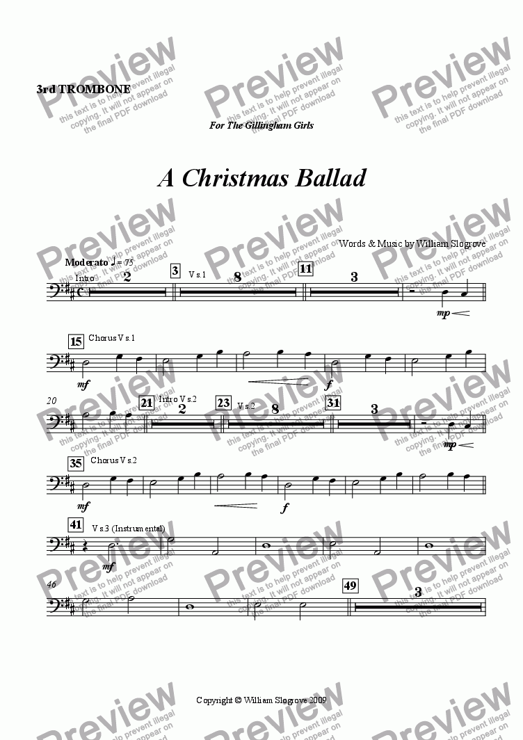 page one of the Trombone 3 part from A Christmas Ballad