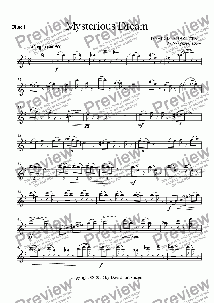 page one of the flute 1 part from Mysterious Dream