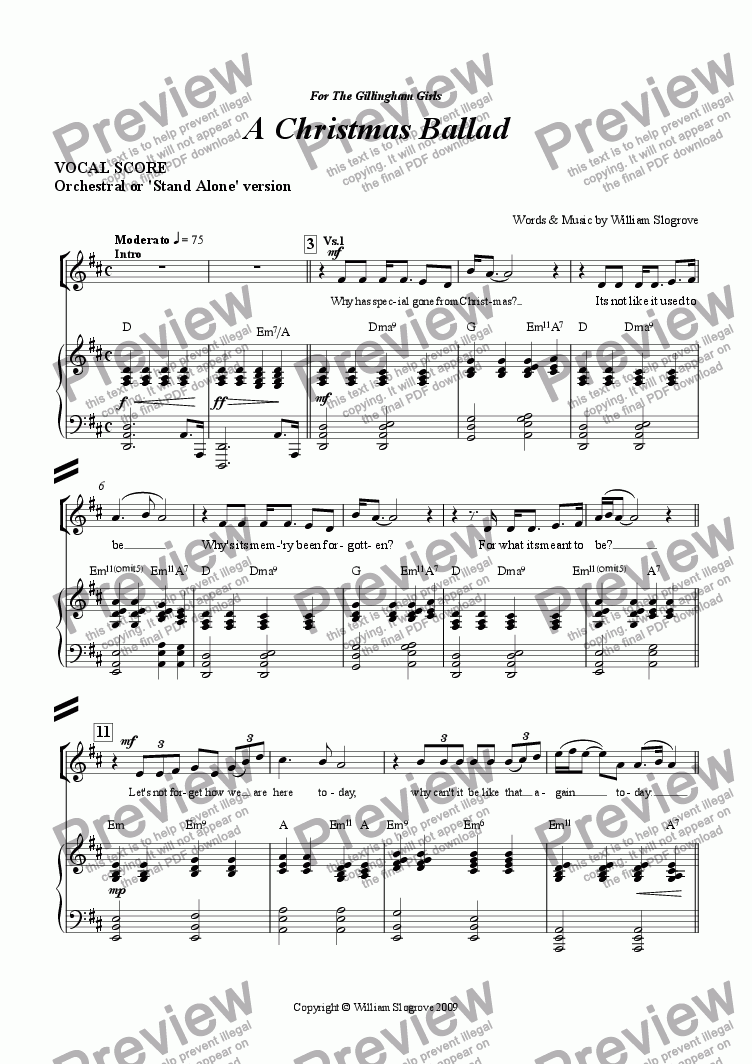 page one of the Vocal score part from A Christmas Ballad