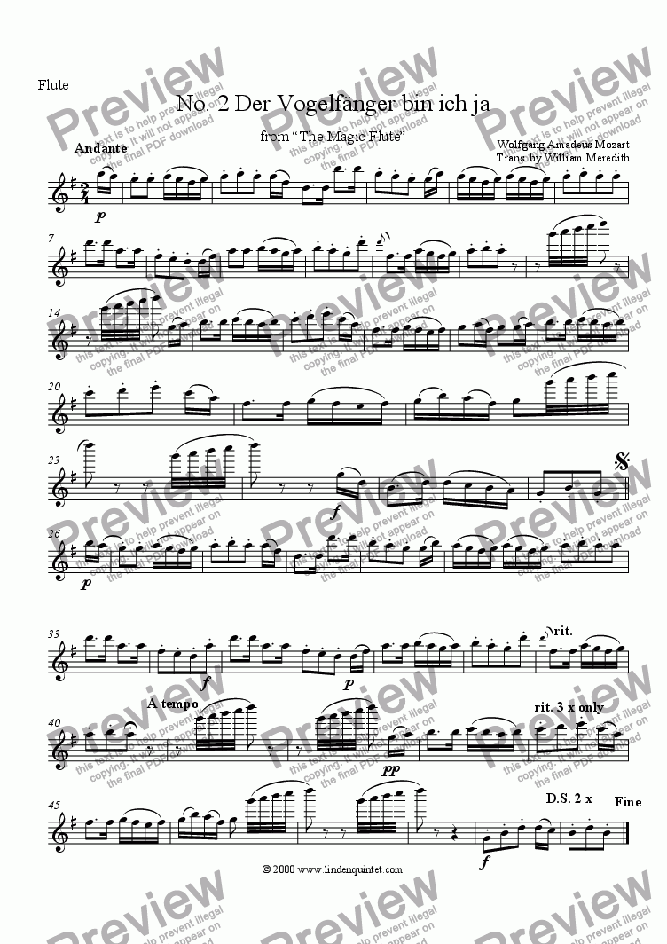 page one of the Flute part from Mozart - Magic Flute No. 02 Der Vogelfanger bin ich ja