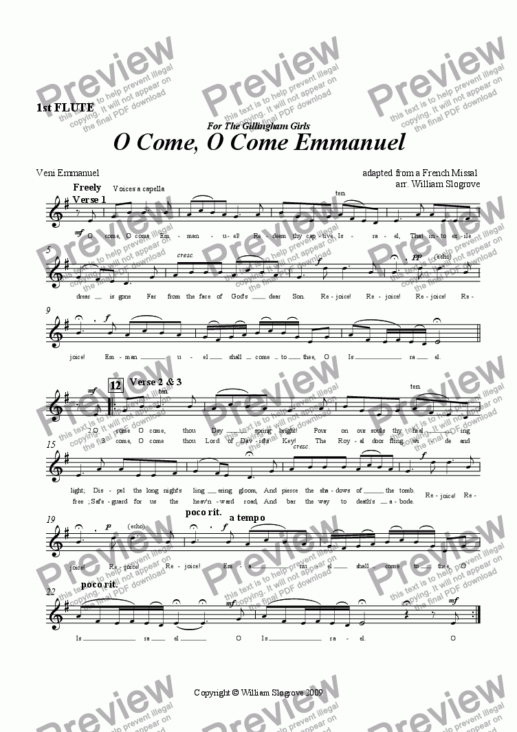 page one of the Flute 1 part from O Come, O Come Emmanuel