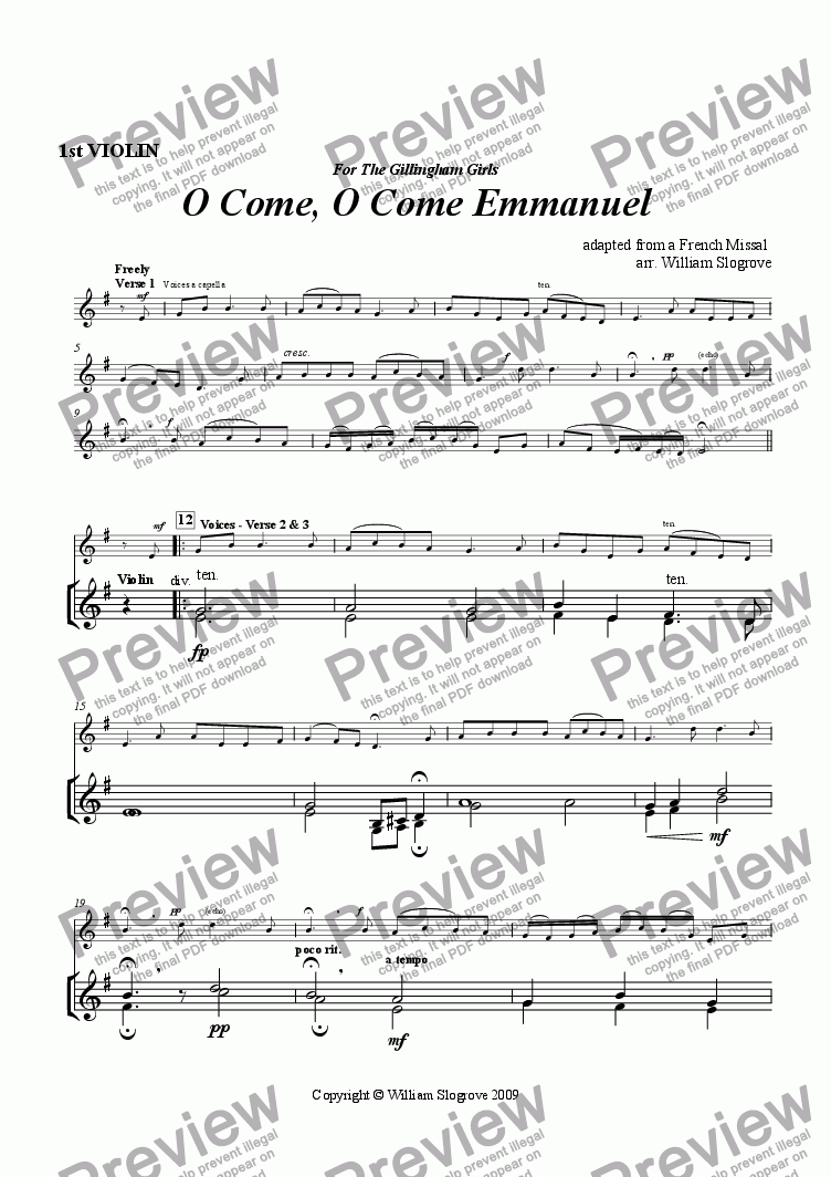 page one of the Violin 1 part from O Come, O Come Emmanuel