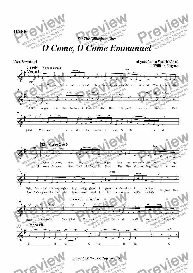 page one of the Harp part from O Come, O Come Emmanuel