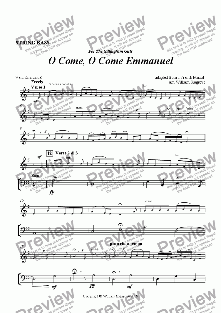 page one of the Doublre Bass part from O Come, O Come Emmanuel