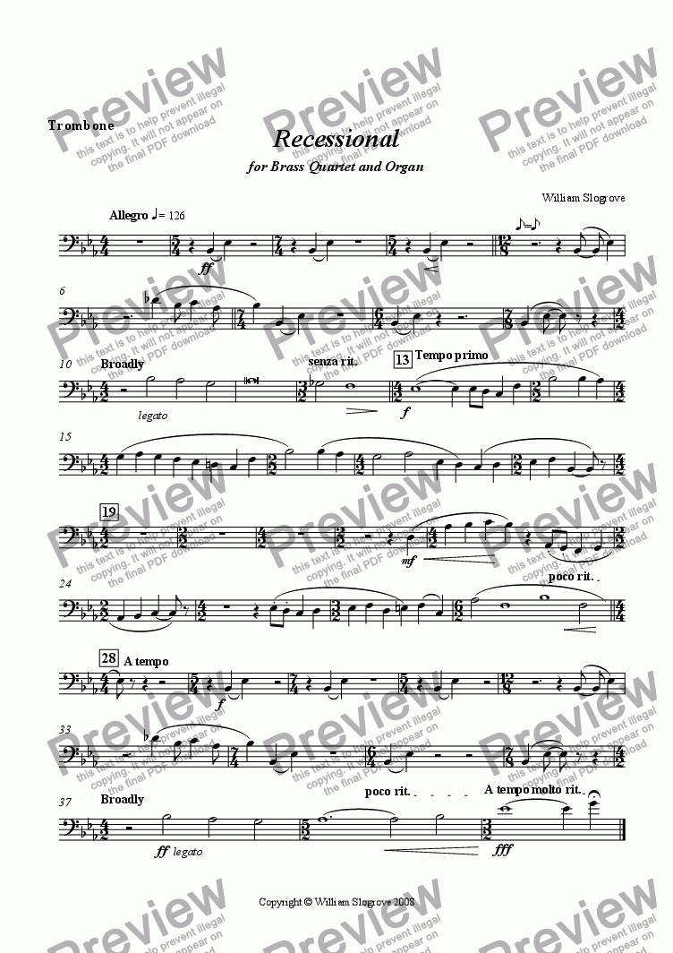 page one of the Trombone part from Recessional for Brass Quartet and Organ