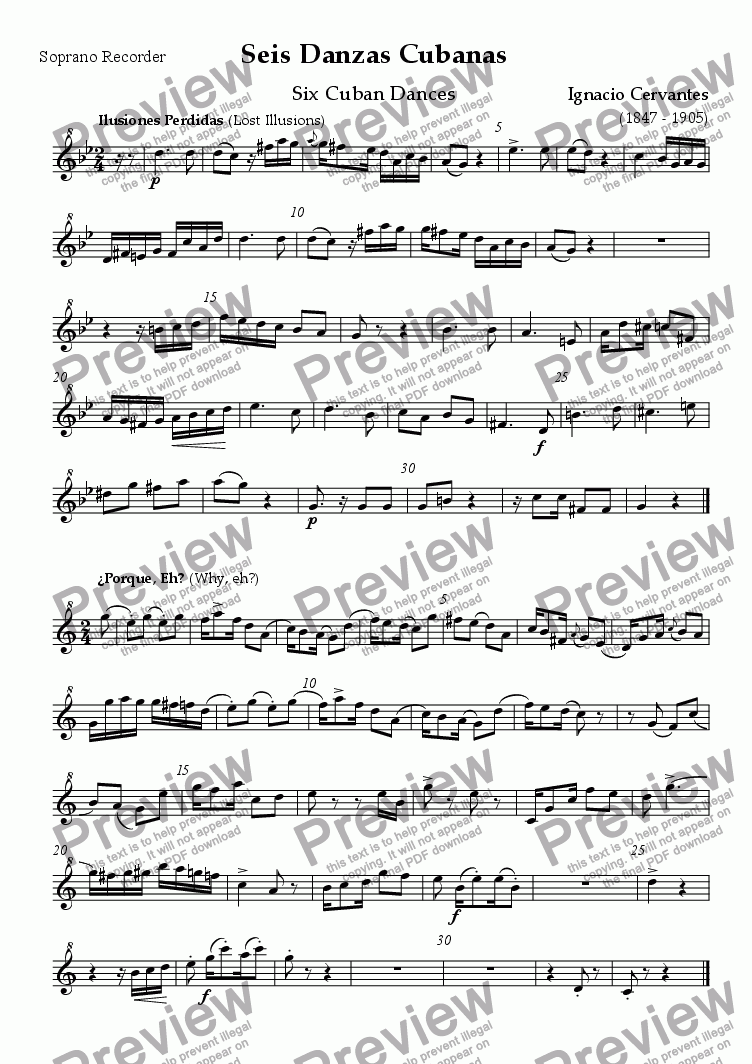 page one of the Soprano (descant) recorder part from Seis Danzas Cubanas