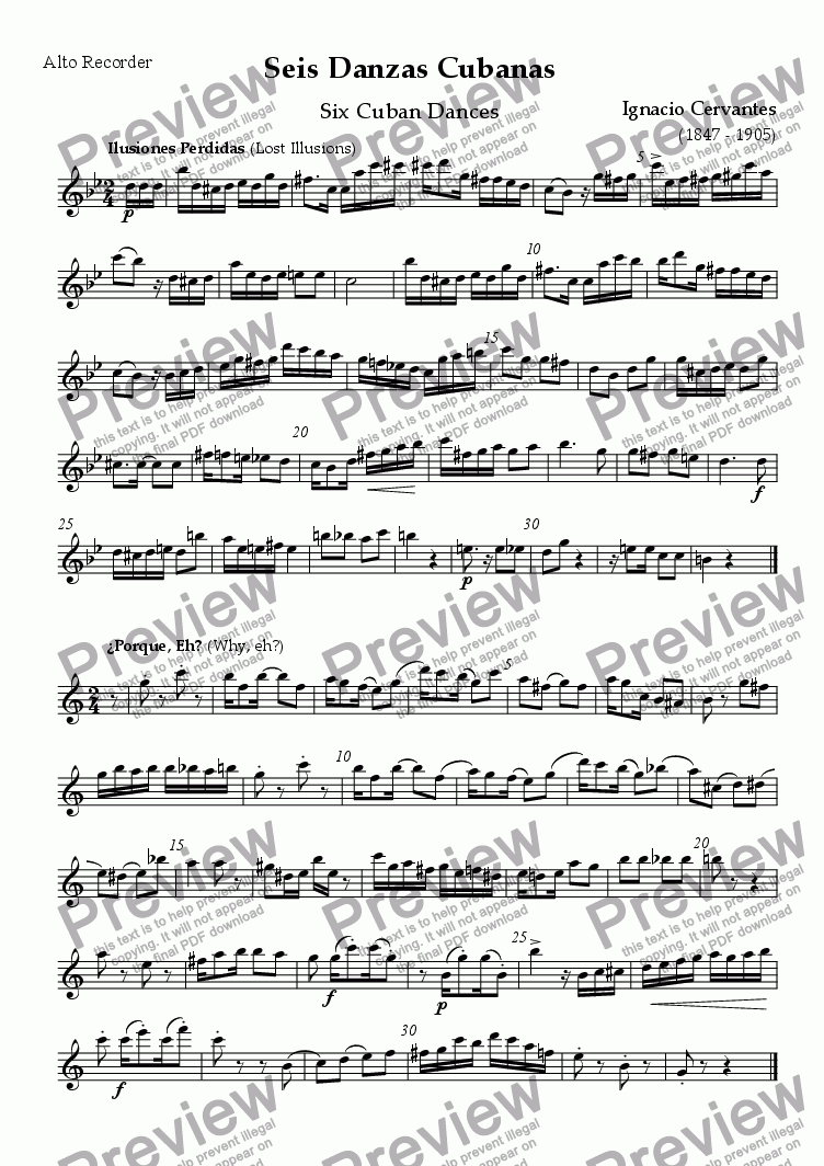 page one of the Alto (treble) recorder part from Seis Danzas Cubanas