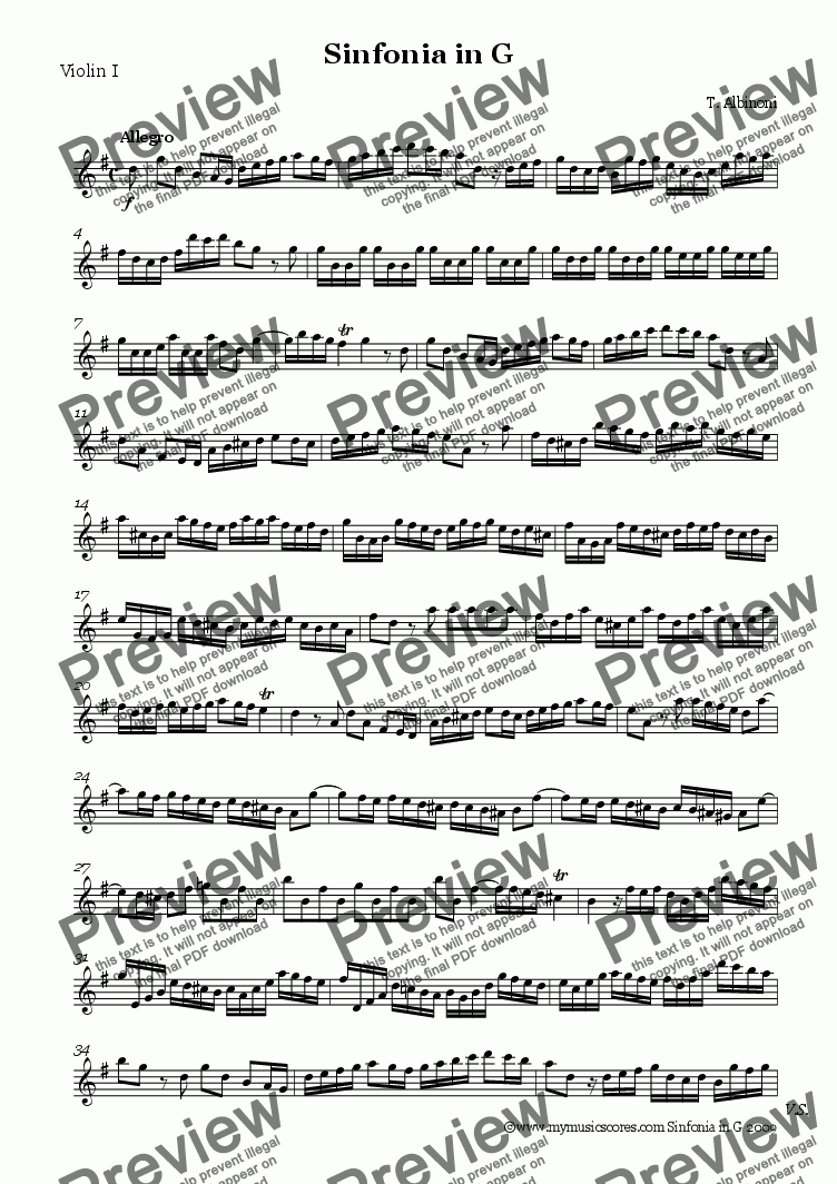 page one of the Violin 1 part from Albinoni Sinfonia in G for String Orchestra