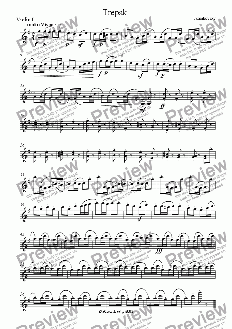 page one of the violin 1 part from Trepak