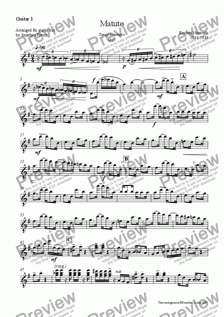 page one of the Guitar 1 part from Matuto