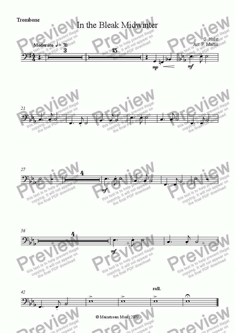 page one of the Trombone part from In the Bleak Midwinter