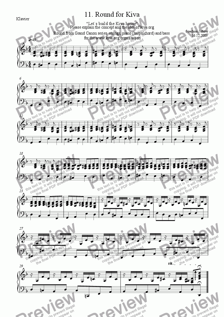 page one of the Harpsichord/Piano part from My Strings 11 (Round for Kiva )