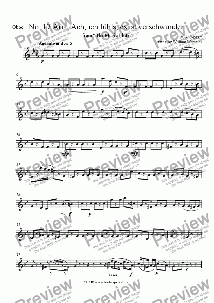 page one of the Oboe part from Mozart - Magic Flute No. 17 and 18
