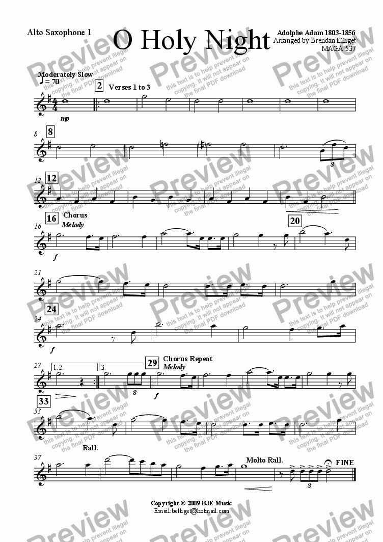 page one of the Alto Sax 1 part from O Holy Night (Christmas) - Concert Band