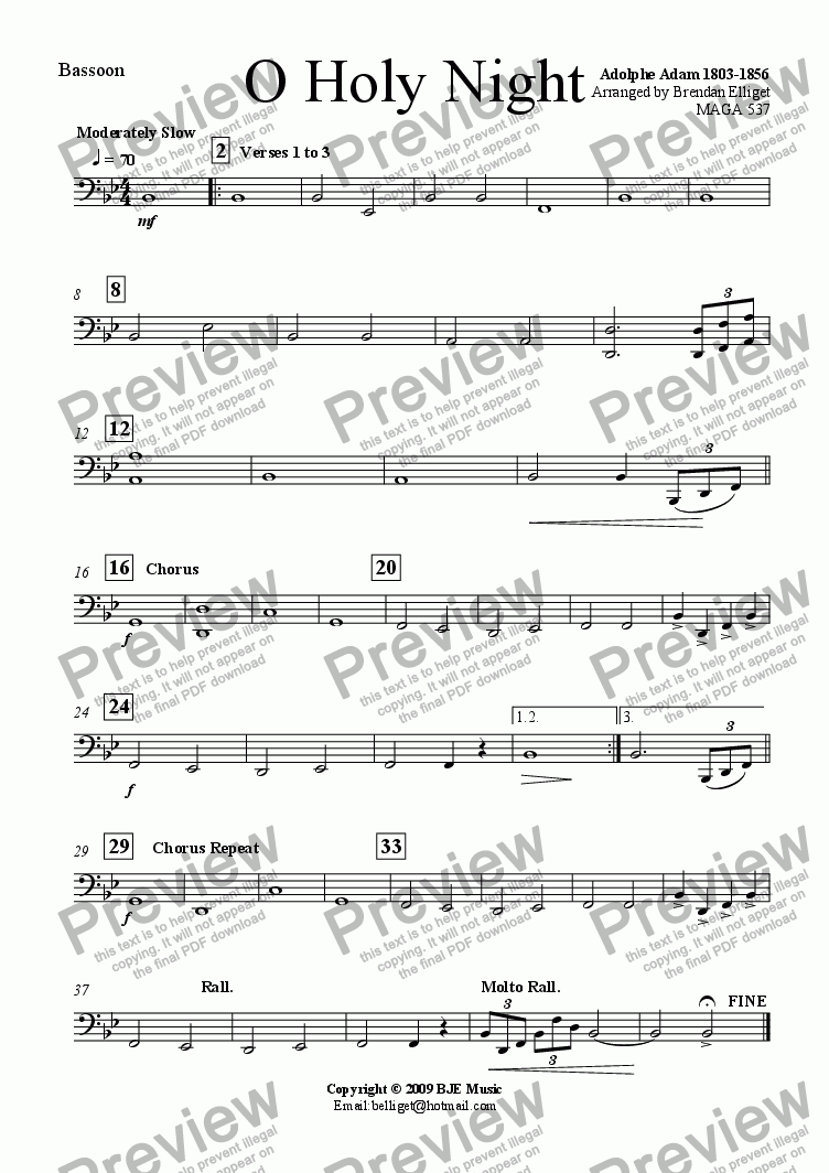 page one of the Bassoon part from O Holy Night (Christmas) - Concert Band