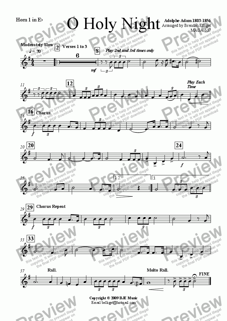 page one of the Eb Horn 1 part from O Holy Night (Christmas) - Concert Band