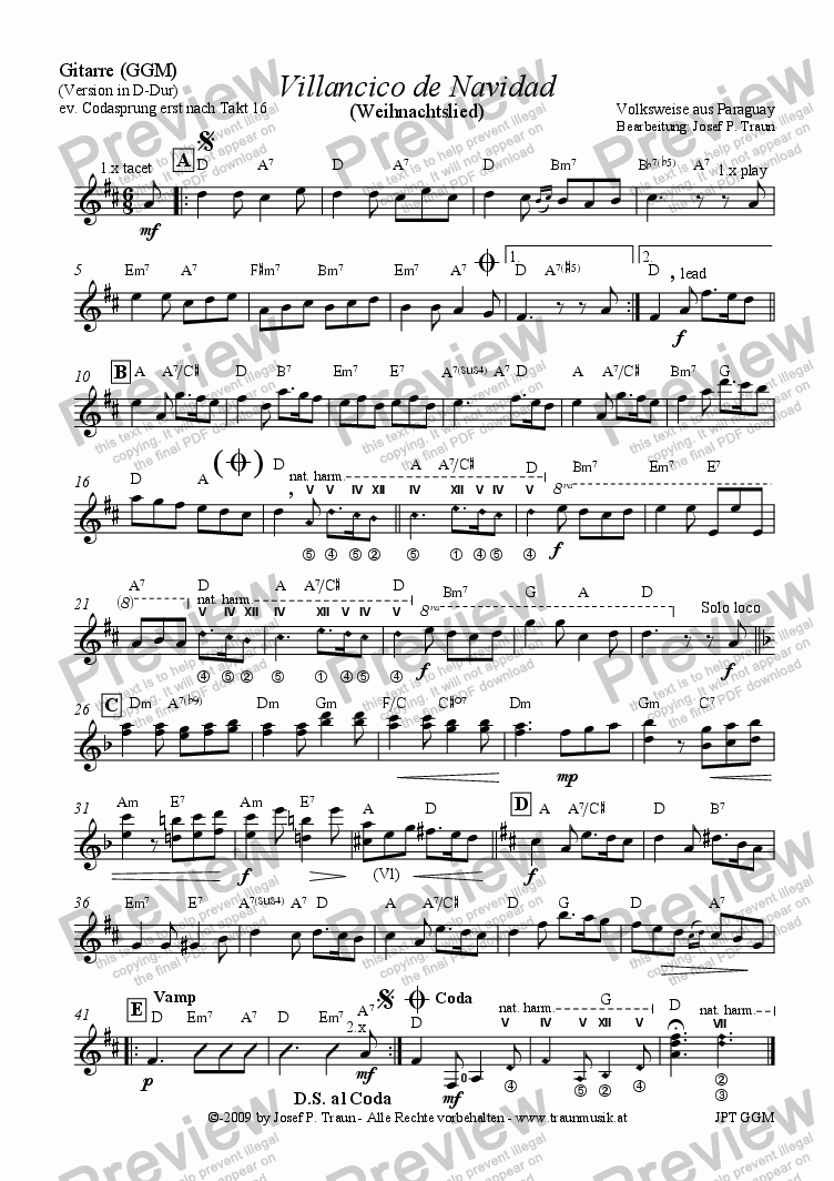 page one of the Gitarre part from Villancico de Navidad (GGM/Score & Parts)