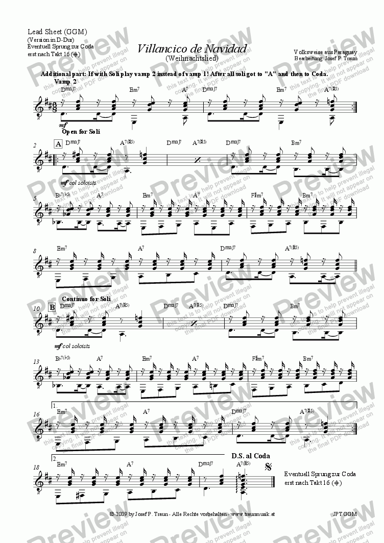 page one of the Akkorde (Soloteil) part from Villancico de Navidad (GGM/Score & Parts)