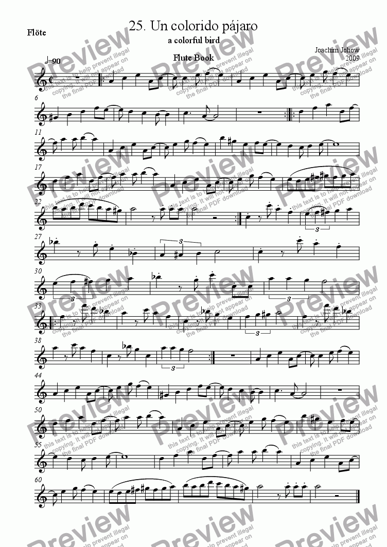 page one of the Flute part from Flute Book 25 (Un colorido pajaro)