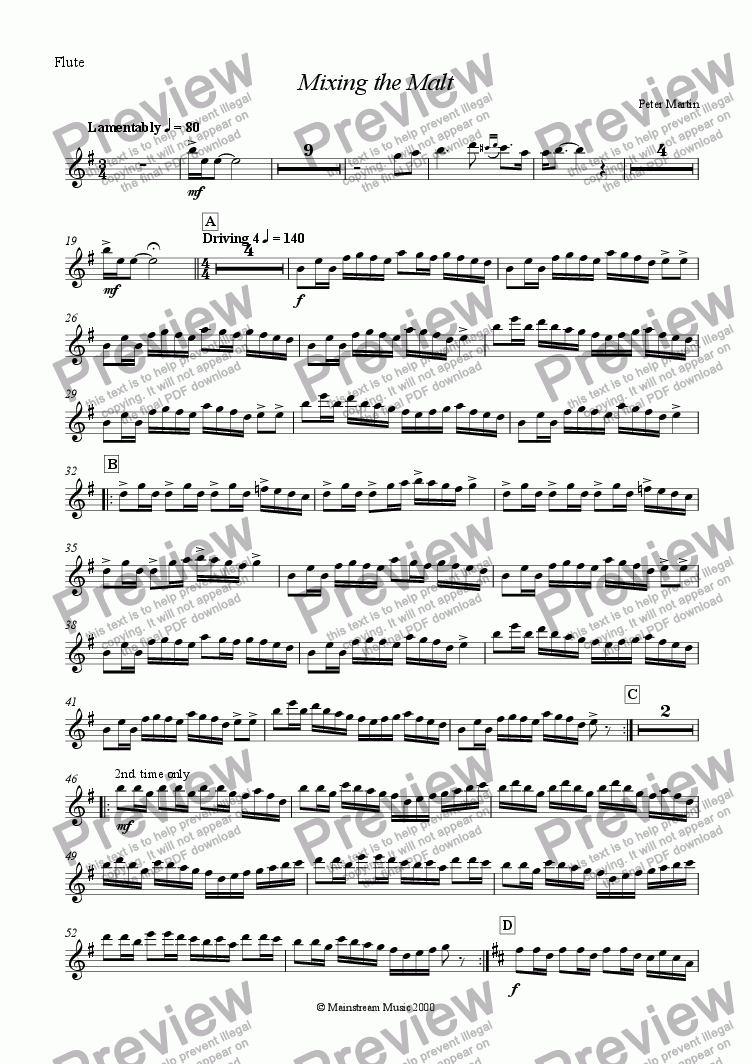 page one of the Flute part from Mixing the Malt
