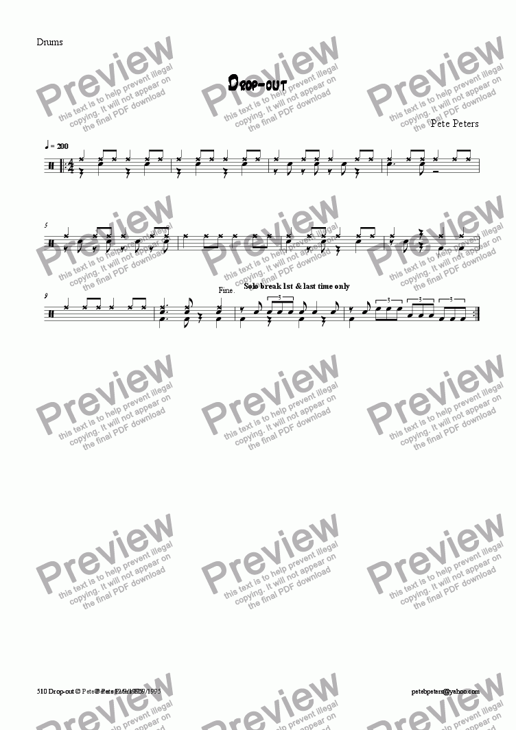 page one of the Drums part from Drop Out [jazz 5tet]