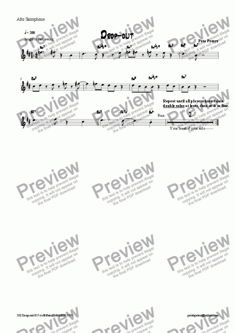 page one of the Alto sax part from Drop Out [jazz 5tet]