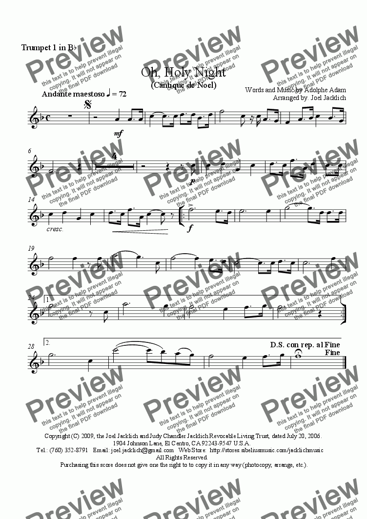 page one of the (Opt.) 1st Trumpet in B-flat part from O Holy Night - Cantique de Noel (Brass Quintet - E-flat)