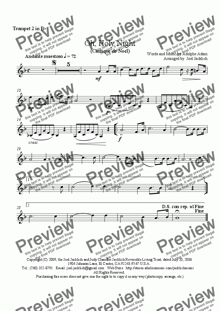 page one of the (Opt.) 2nd Trumpet in B-flat part from O Holy Night - Cantique de Noel (Brass Quintet - E-flat)