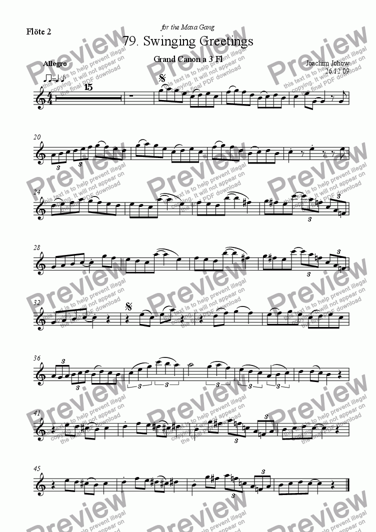 page one of the 2. Fl part from Grand Canon 79 (Swinging Greetings for 3 flutes)